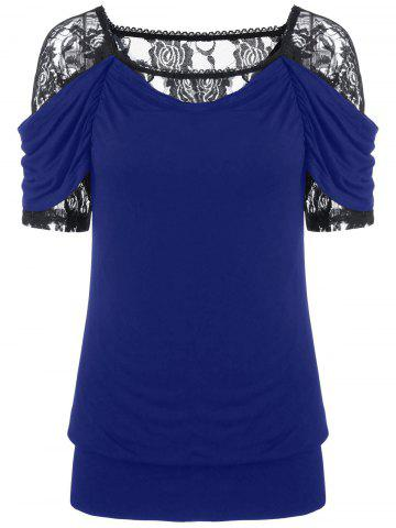 Outfit Lace Trim Ruched T-Shirt
