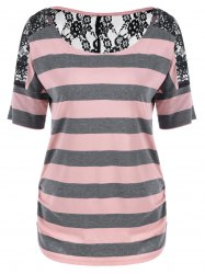 Lace Trim Sheer Striped T-Shirt