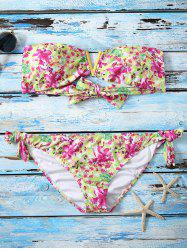 Flower Print Strapless String Push Up Bandeau Bikini Set
