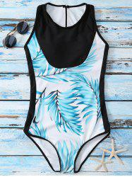 Racer Back Printed One Piece Swimsuit