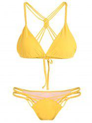 Cami Crossover Cut Out Bikini Set - YELLOW L