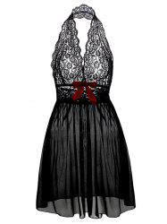 Halter Lace Plus Size Babydoll - BLACK