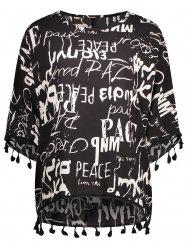 Plus Size Tassel Graffiti Dolman Sleeve Graphic T-Shirt