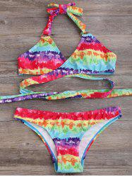 Printed Halter Neck Wrap Bikini Set