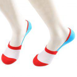 Color Block Antiskid Loafer Liner Sperry Socks - RED AND WHITE