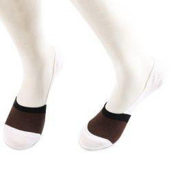Color Block Antiskid Loafer Liner Sperry Socks - COFFEE + WHITE