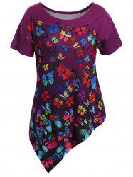Asymmetrical Butterfly Print Plus Size Tunic Top