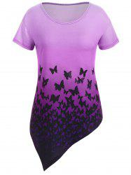 Ombre Plus Size Asymmetrical Butterfly Tunic Top