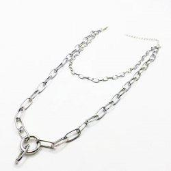 Circle Layered Chain Necklace - SILVER