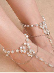 Artificial Pearl Chain Beaded Anklets -