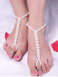 Artificial Pearl Beads Anklet - WHITE