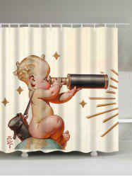 Cute Telescope Baby Print Waterproof Shower Curtain
