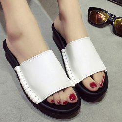 Platform Faux Leather Slippers