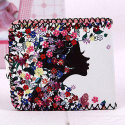 Bi Fold Whipstitch Print Small Wallet