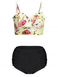 Floral Plus Size Cute High Waisted Bikini