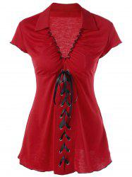 Ruffle Empire Waist Lace Up T-Shirt - RED 2XL