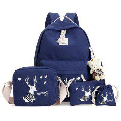 Cartoon Cerf Printed Canvas Backpack Set - Bleu Foncé