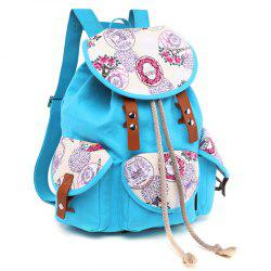 Front Pockets Floral Print Canvas Backpack