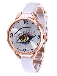 YBOTTI Faux Leather Quartz Watch with Beauty Eye - WHITE