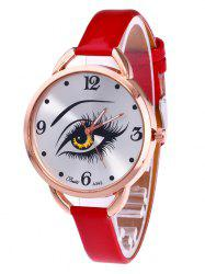 YBOTTI Faux Leather Quartz Watch with Beauty Eye -