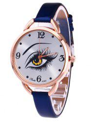 YBOTTI Faux Leather Quartz Watch with Beauty Eye