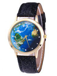 Faux Leather Strap Watch with World Map