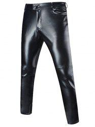 Zip Embellished Faux Leather Pants - BLACK