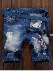 Zipper Embellished Ripped Denim Shorts