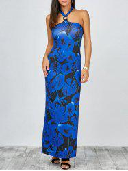 Floral Print Maxi Prom Dress with Halter Neckline