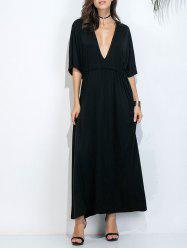 Plunging Neck Maxi Dress with Drawstring Waist