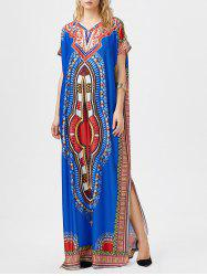 Bohemian Tribal Print Slit Maxi Dress