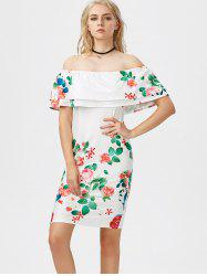 Off The Shoulder Flounce Printed Dress