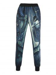 3D Machinery Print Beam Feet Jogger Pants