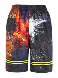 3D Abstract Print Lace Up Board Shorts - COLORMIX
