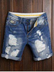 Ripped Zipper Cuffed Denim Shorts - DENIM BLUE