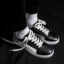 Stitching Lace Up Casual Shoes