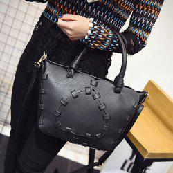 Stitching Faux Leather Handbag -