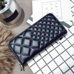 Zipper Around Quilted Clutch Wallet - BLACK