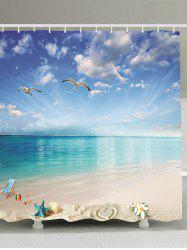 Beach Landscape Water Resistant Fabric Shower Curtain - SKY BLUE