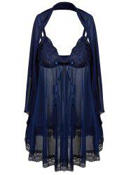 See Through Plus Size Babydoll With Scarf - PURPLISH BLUE