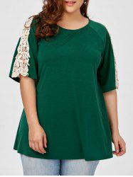 Plus Size Crochet Insert Raglan Sleeve T-Shirt