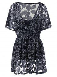 Plus Size Low Cut Blouse with Camisole