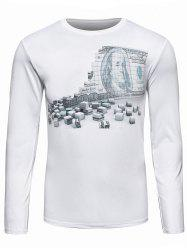 3D Dollar Brick Print Long Sleeve T-Shirt