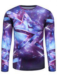 Geometric 3D Galaxy Long Sleeve Trippy T-Shirt