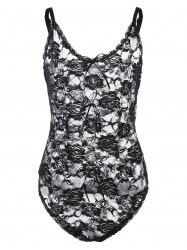 Plus Size Floral Sheer Lace Bodysuit