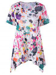 Plus Size Splatter Paint Longline T-Shirt