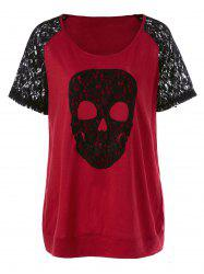 Plus Size Skull Long Lace Trim T-Shirt