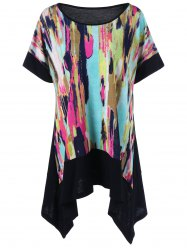 Plus Size Asymmetrical Tie Dye T-Shirt