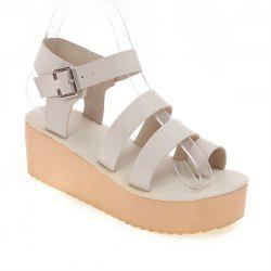 Toe Ring Platform Sandals - CANDY BEIGE