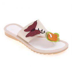 Butterfly Flat Heel Slippers - CANDY BEIGE
